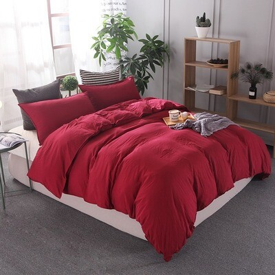 Red Washed Cotton Duvet Cover Set