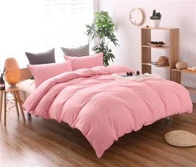Pink Washed Cotton Duvet Cover Set