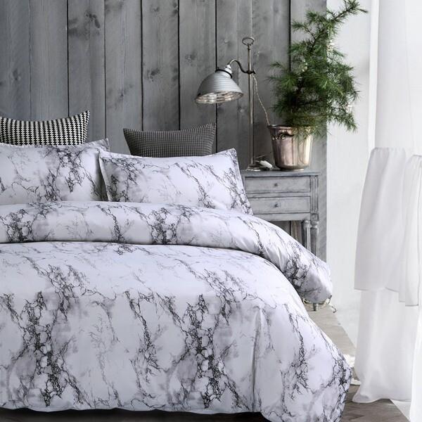 Grey Marble Duvet Cover Set