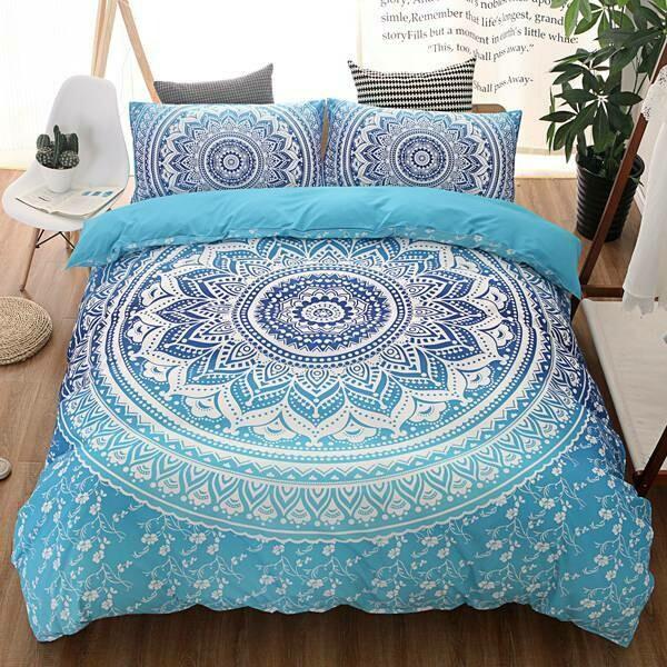 Blue Background White Pattern Bohemia Duvet Cover Set