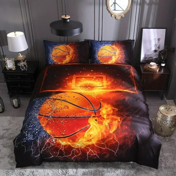 Red Flame Basketball Duvet Cover Set