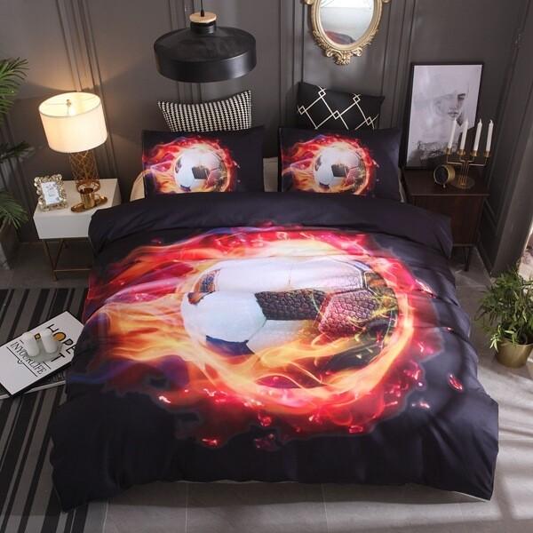 Red Flame Soccer Duvet Cover Set