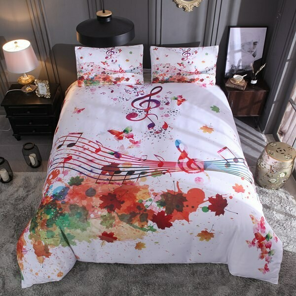 Great Watercolor Musical Notes Duvet Cover Set