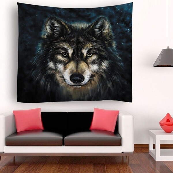 Retro Wolf Tapestry