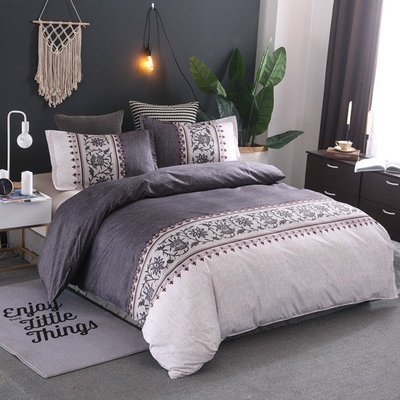 Dark Grey  Lily of the Valley Duvet Cover Set
