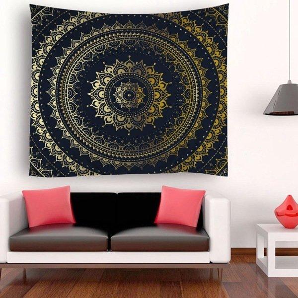Black & Gold Circle Tapestry