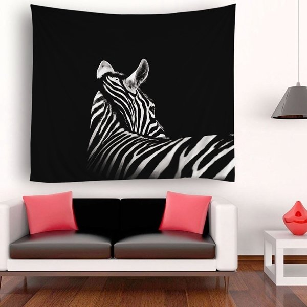 Retro Zebra Back Tapestry