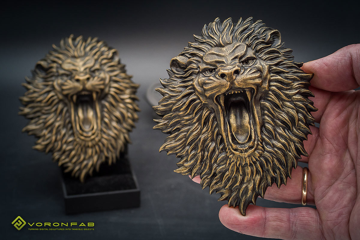 Angry Lion Face bas-relief, Bronze, Copper