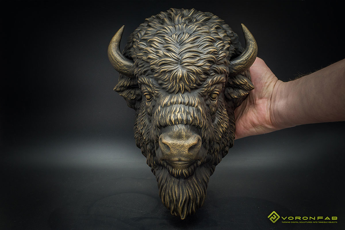 American Bison head wall sculpture, faux taxidermy 00001