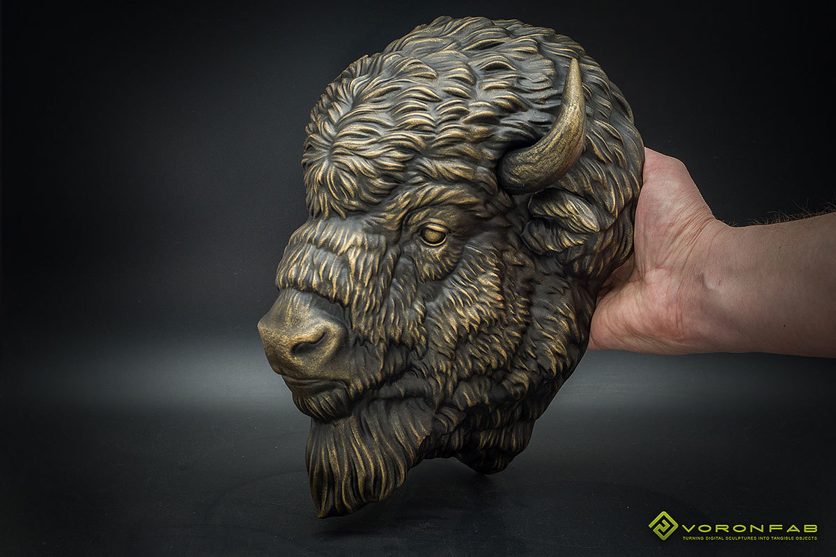 American Bison head wall sculpture, faux taxidermy