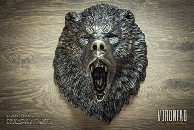 Roaring Bear Grizzly Wall Sculpture Animal Head Faux Taxidermy