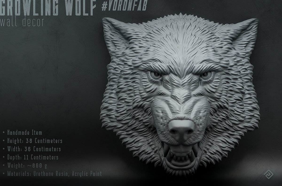 Growling Wolf Face relief sculpture wall decor 00007