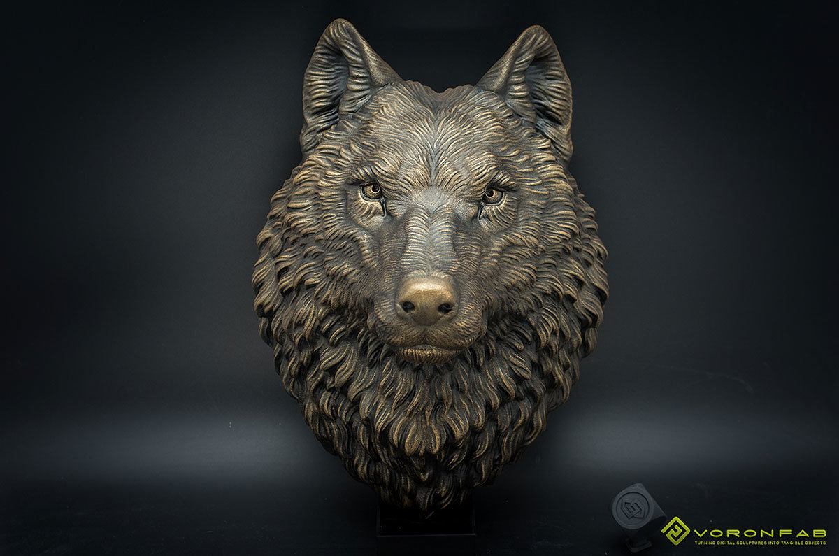Wolf head wall mount, faux taxidermy, home decor.