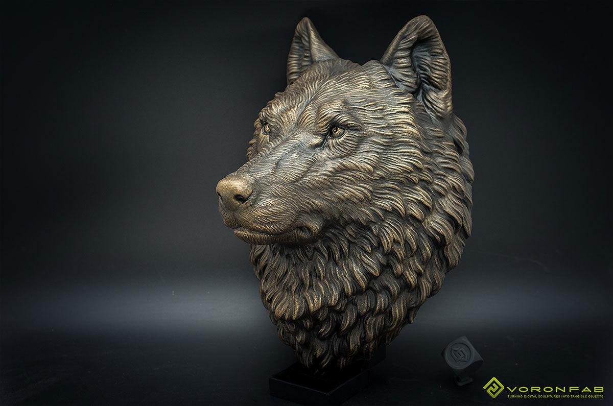 Wolf head wall mount, faux taxidermy, home decor.