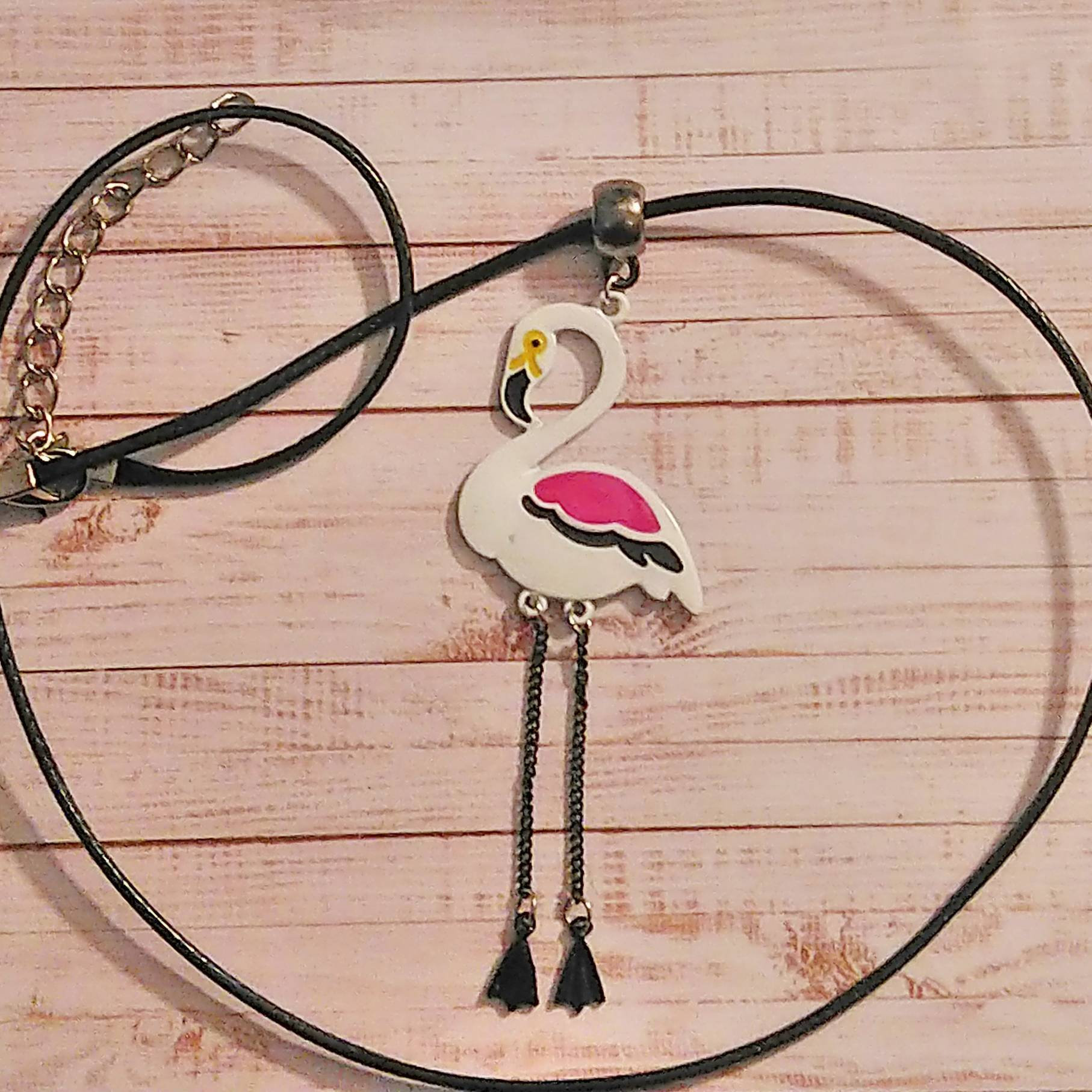 Pink & White Flamingo Pendant Necklace. Moveable Dangly Legs. Waxed Black Cord. Beautiful  Boho Earrings.  Ideal Gift for Women. 00155