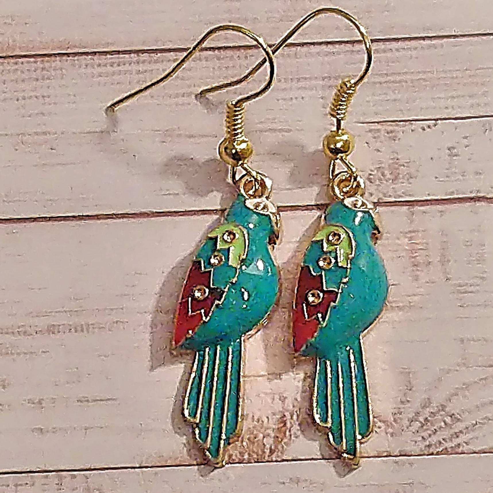 Parrot Enamel  Earringsl.  Gold Plated Ear Wires. Beautiful Boho Earrings.  Ideal Gift for Women. Bird Lovers Jewellery. 00157