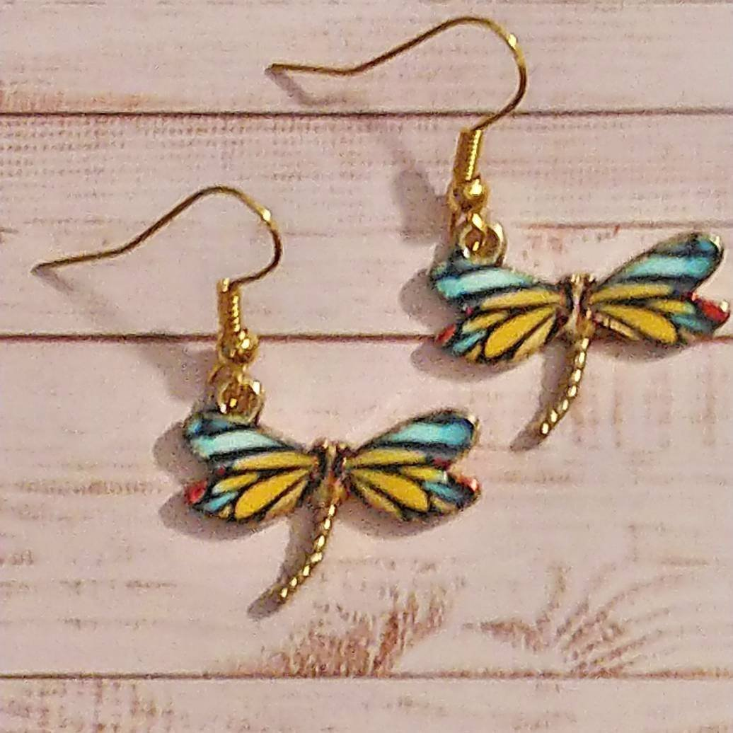 Dragonfly Earrings.  Gold Plated Ear Wires. Beautiful Boho Earrings.  Ideal Gift for Women. Dragonfly and Bug Lovers Jewellery. 00160