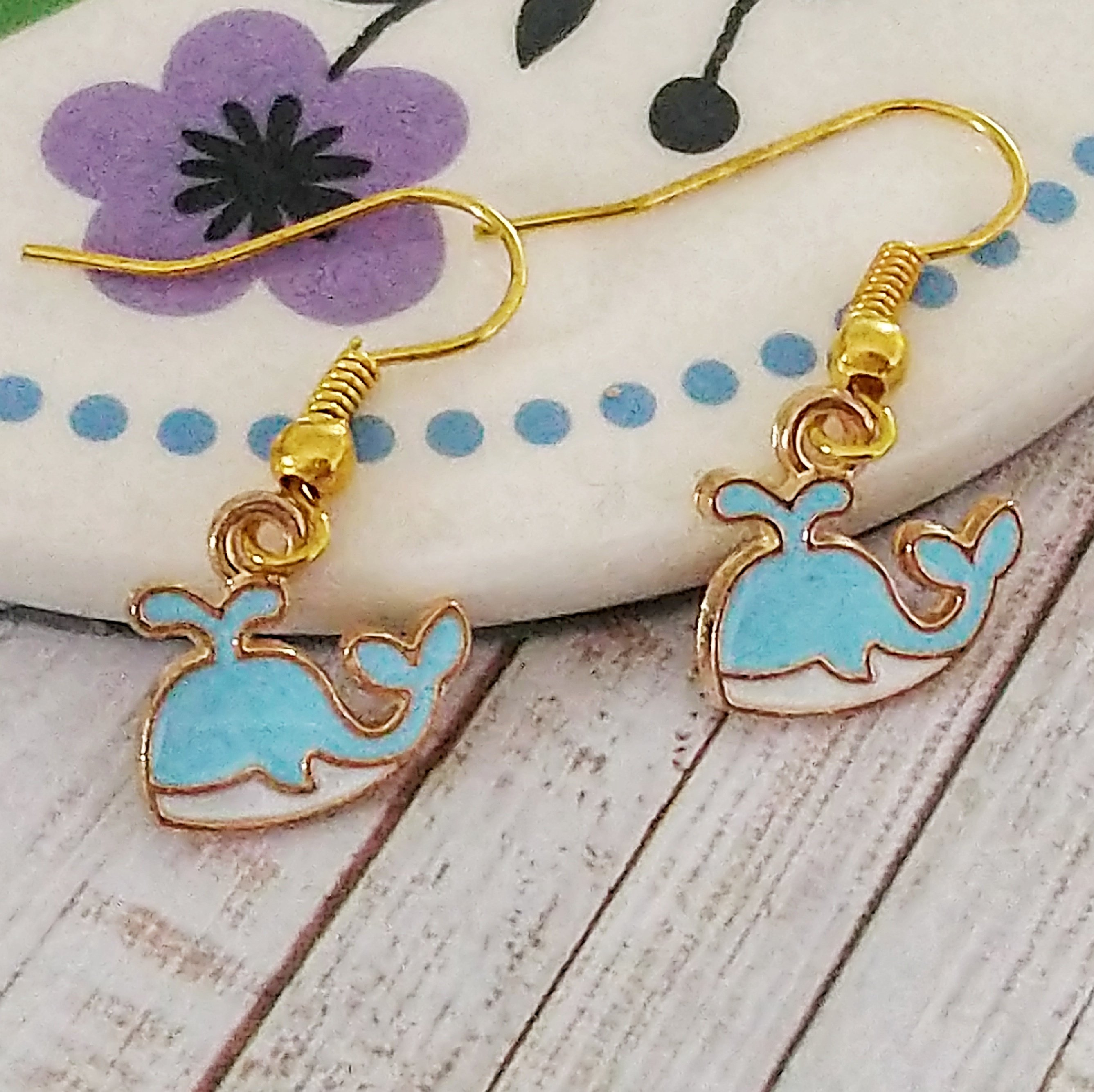 Blue Whale Earrings on Gold Coloured Ear Wires 00411