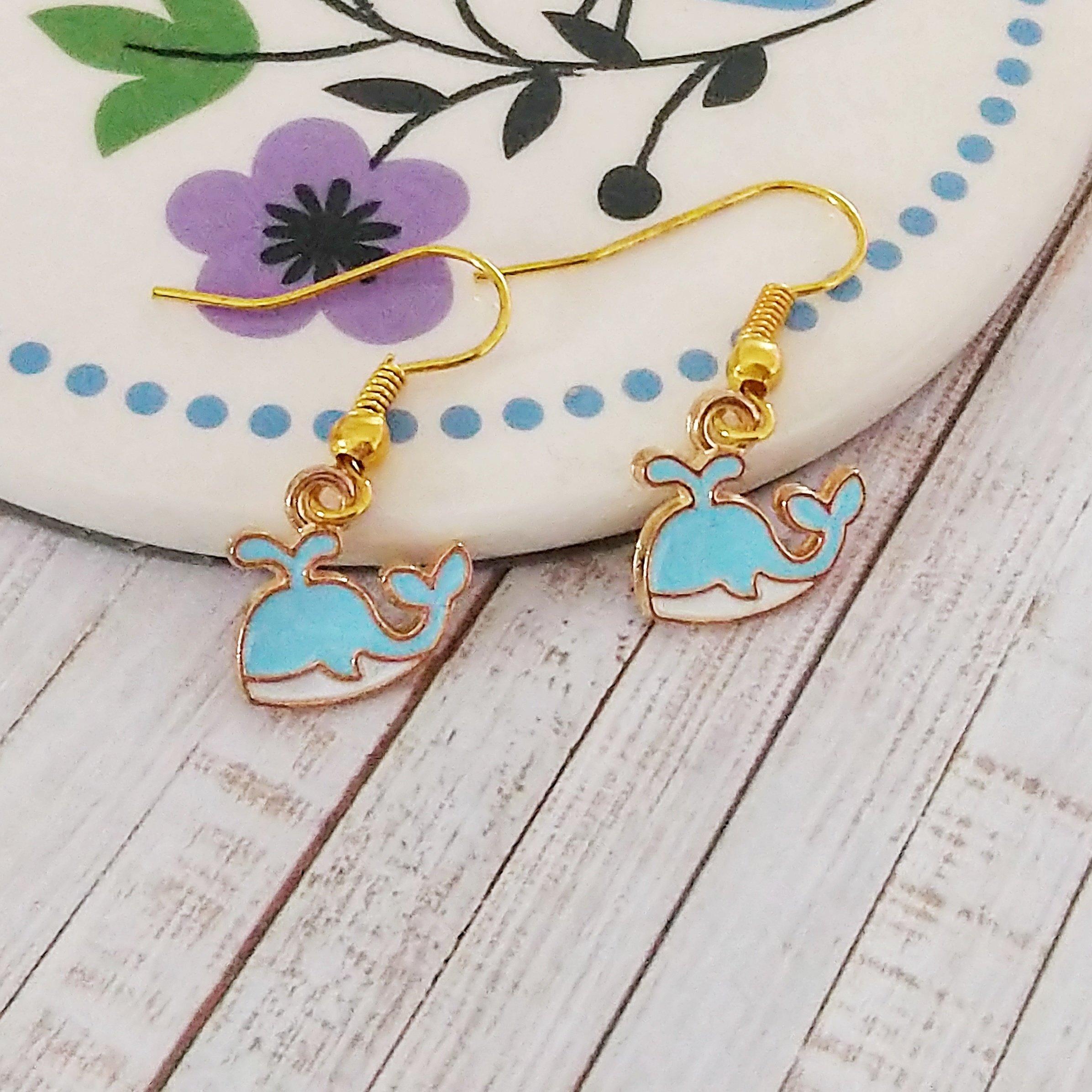 Blue Whale Earrings 1