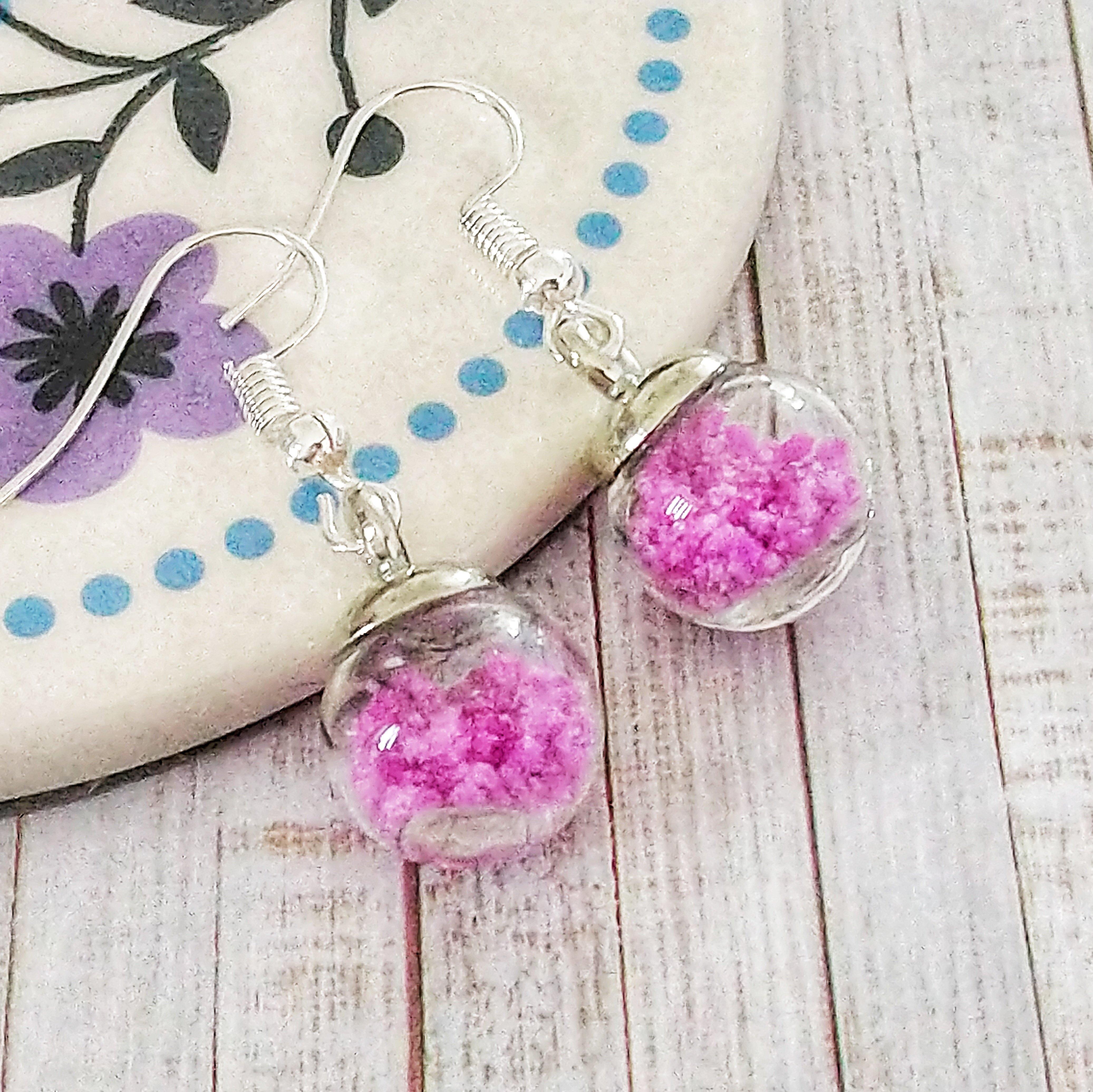 Glow in the Dark Pink Bottle Earrings 1