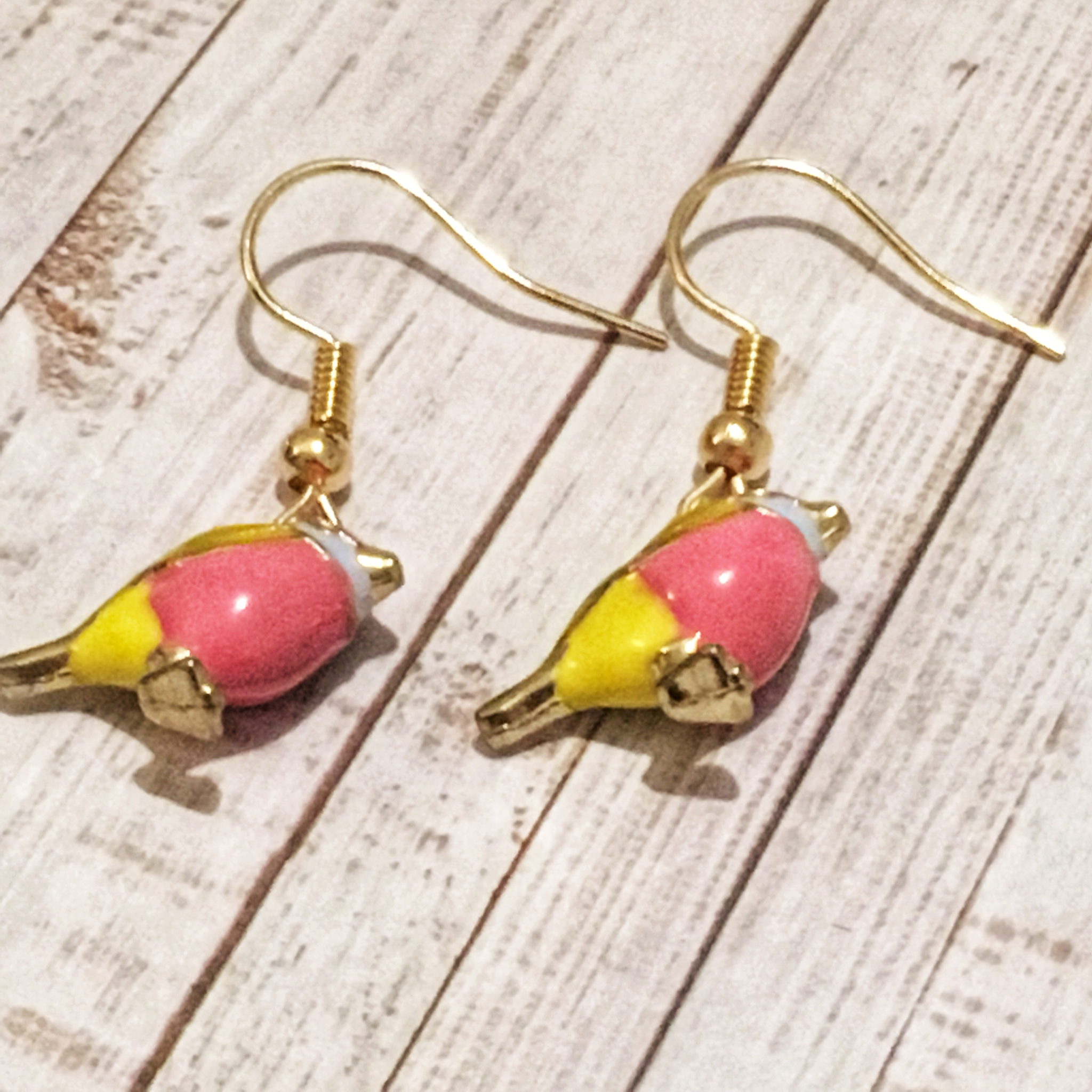 Enamel Pink and Yellow 3D Bird Earrings 00436