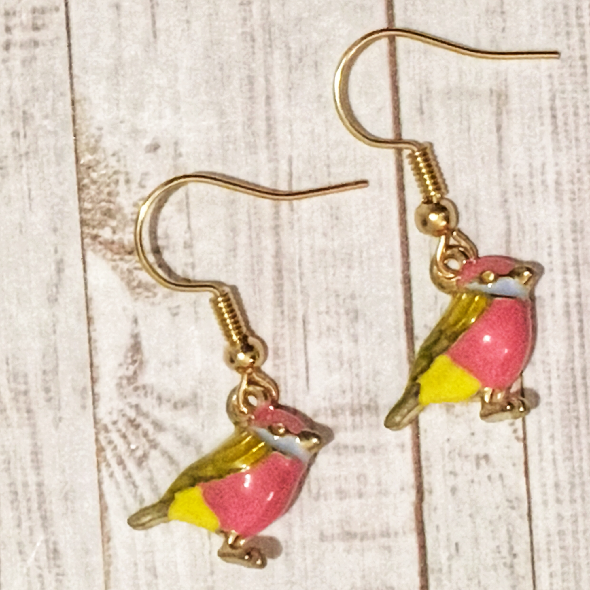 Enamel Pink and Yellow 3D Bird Earrings