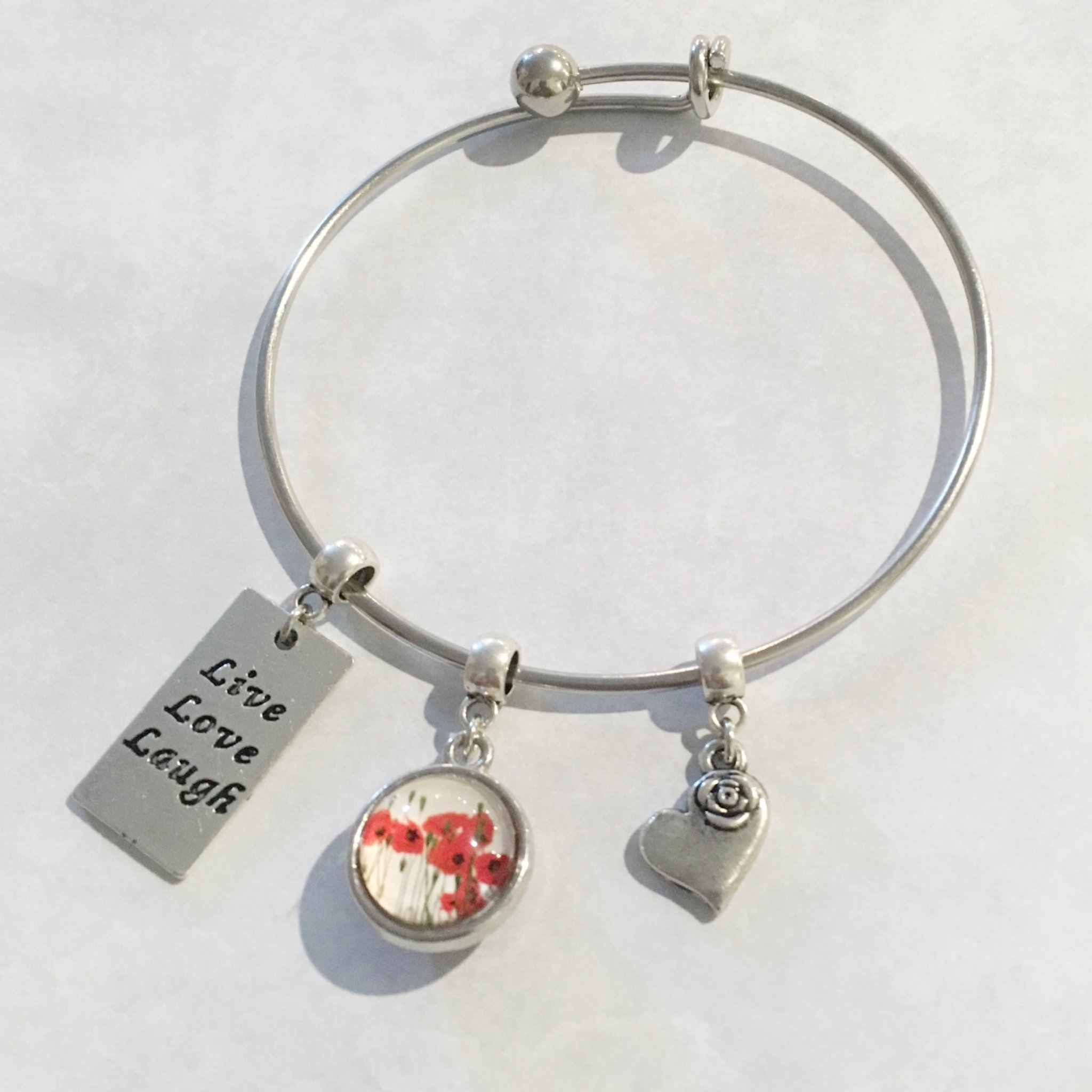 Live, Laugh, Love, Heart and Poppies Expandable Bangle 00504