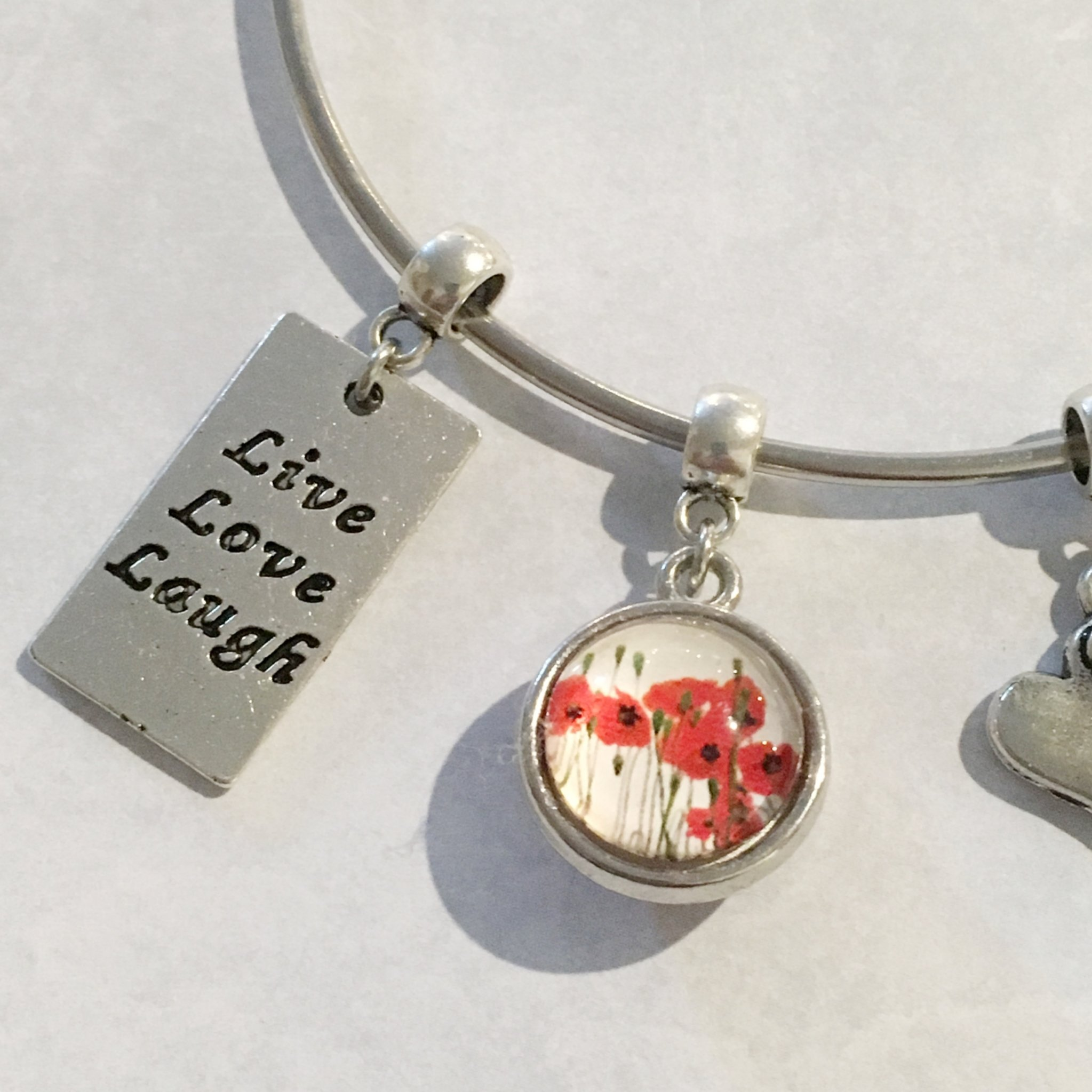 Live, Laugh, Love, Heart and Poppies Expandable Bangle