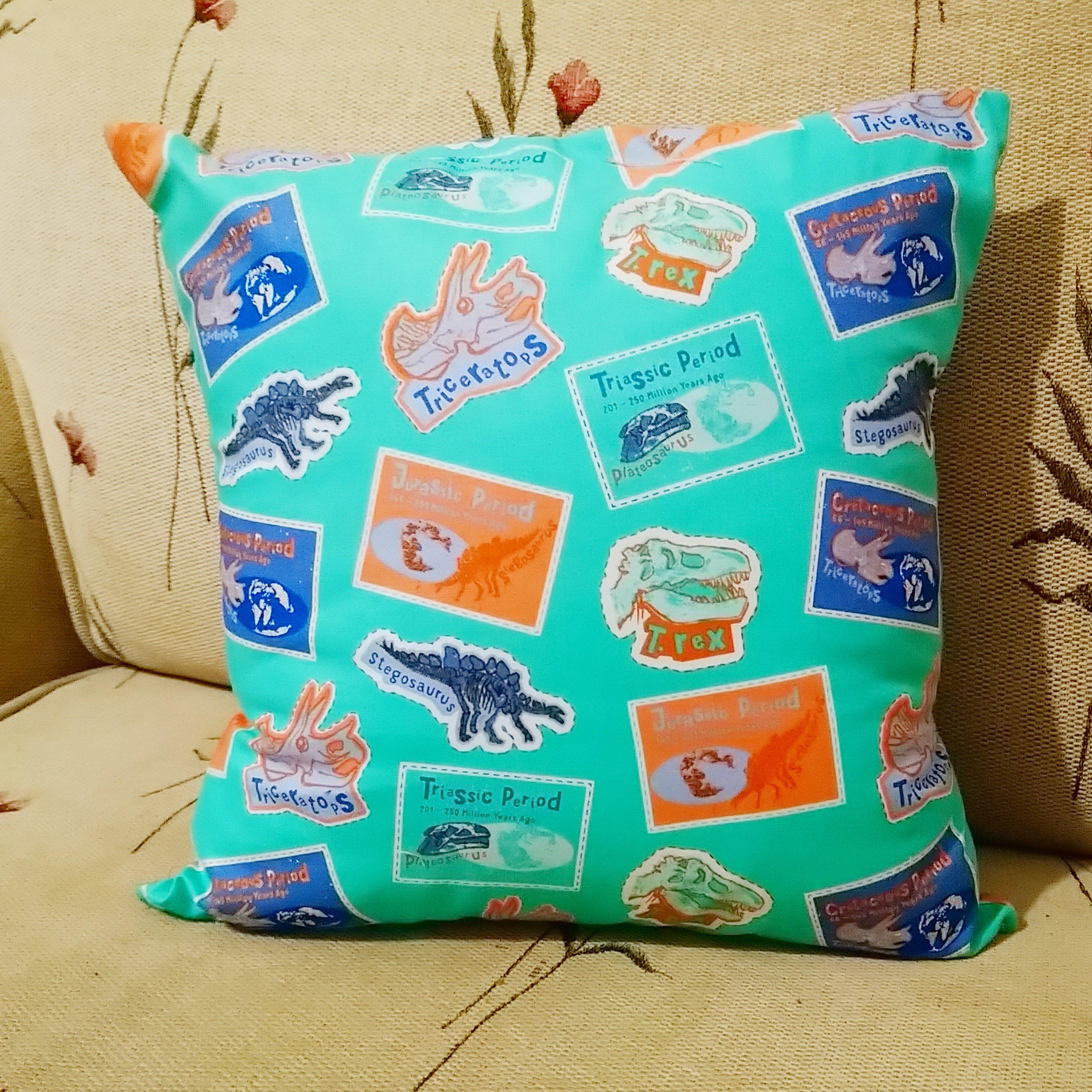 Prehistoric Dinosaur Cushion Including 14 inch Inner