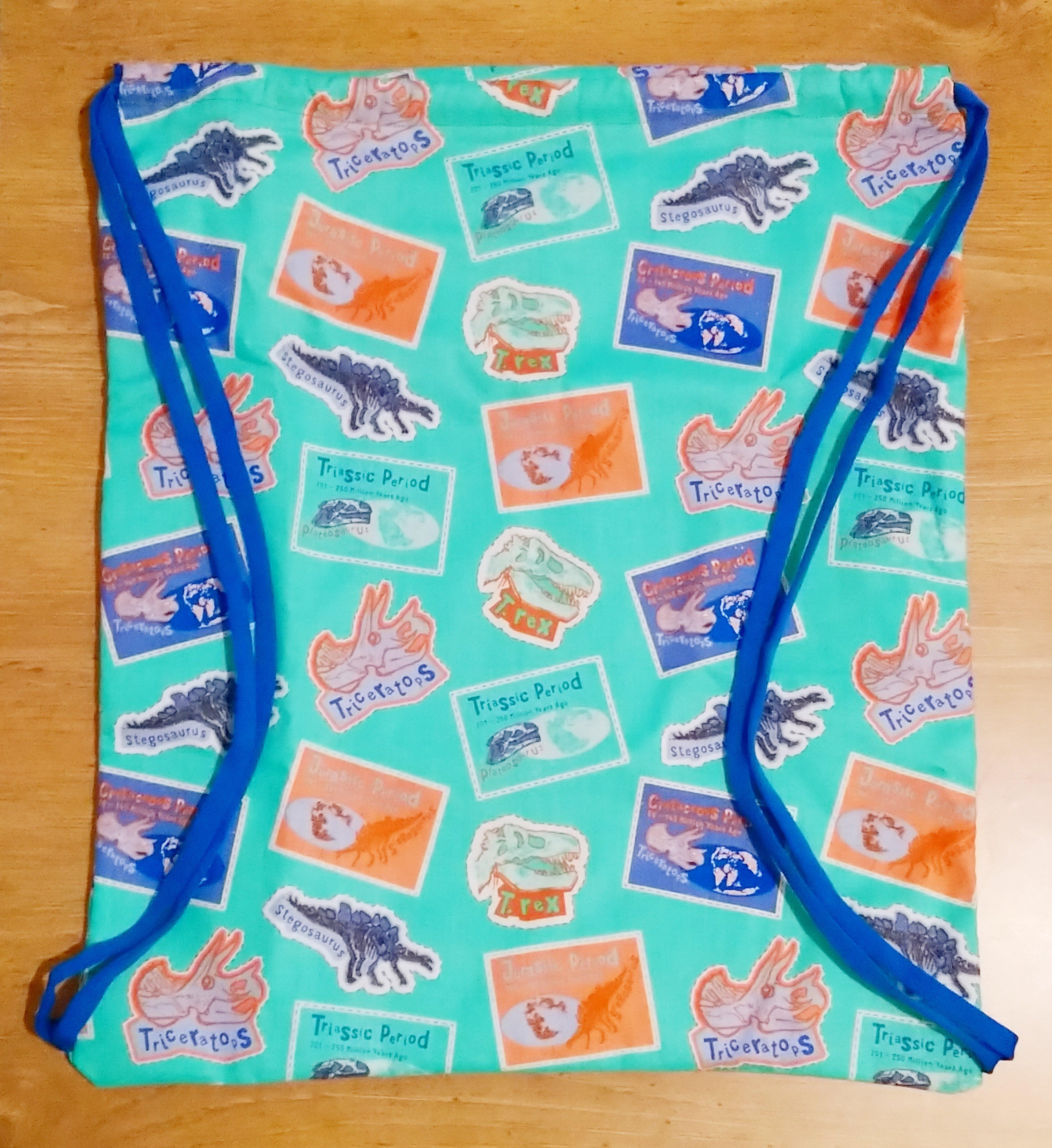 Prehistoric Dinosaur Lined Drawstring Bag 00526