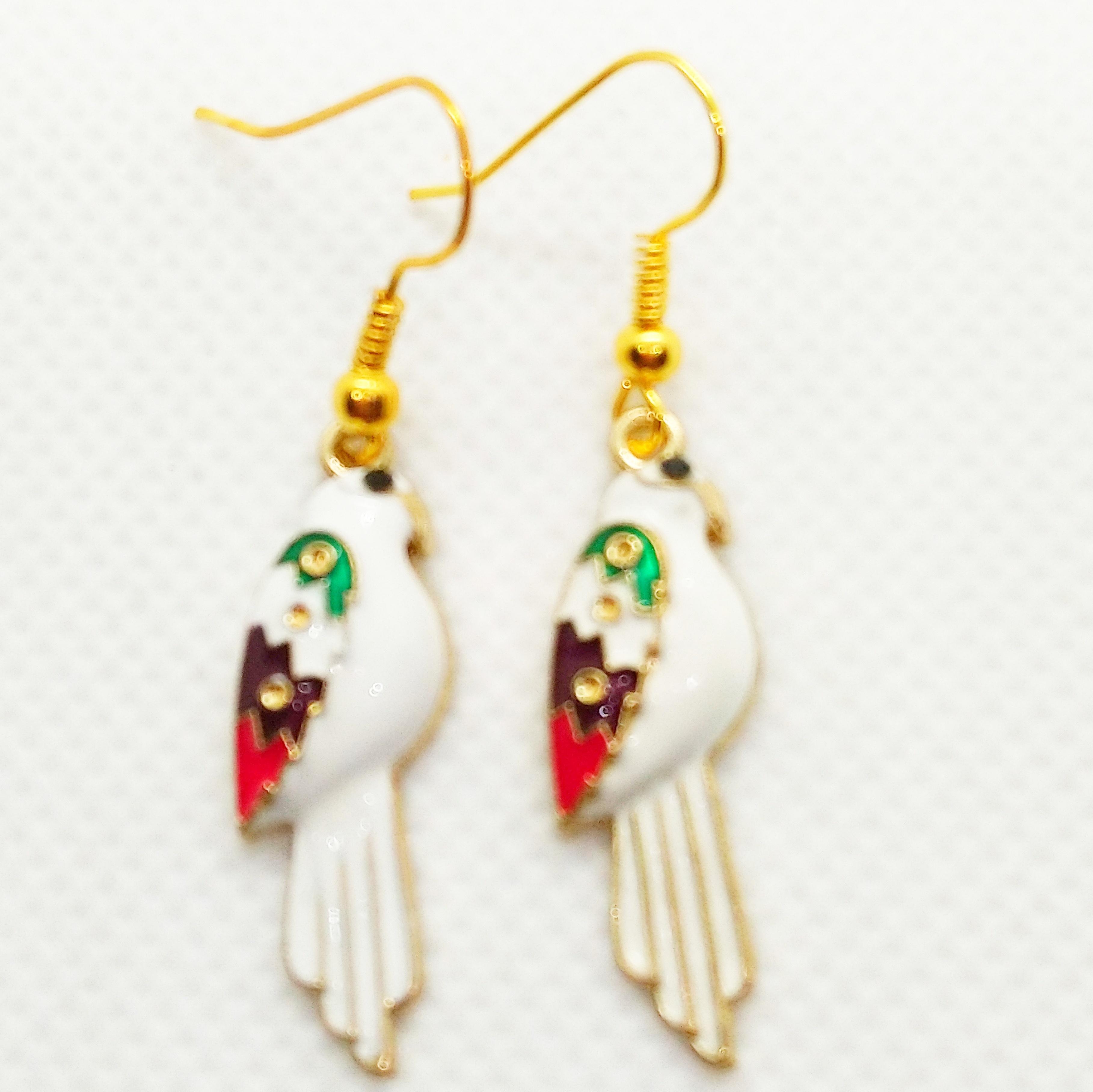 Parrot Enamel  Earringsl.  Gold Plated Ear Wires. Beautiful Boho Earrings.  Ideal Gift for Women. Bird Lovers Jewellery.