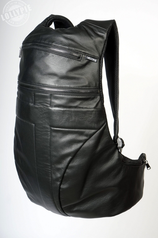 Anatomical Black Genuine Leather Backpack