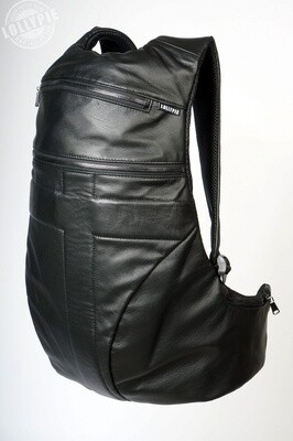 Anatomical Black Genuine Leather Backpack