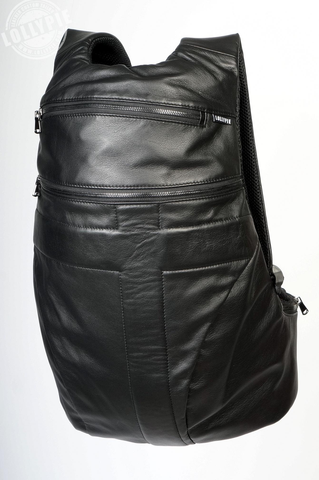 3f4a78e6b296 Черный кожаный рюкзак.