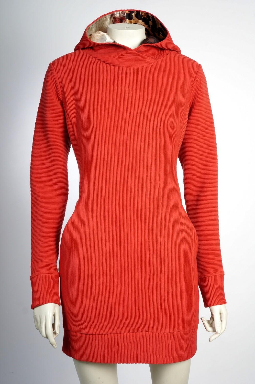 Sweatshirt dress with viscose hood