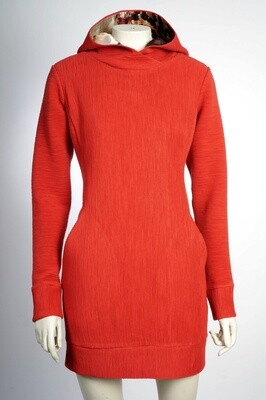 Sweatshirt dress with viscose hood