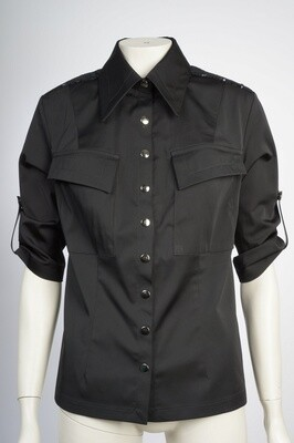 Black Shirt with Leather Collar