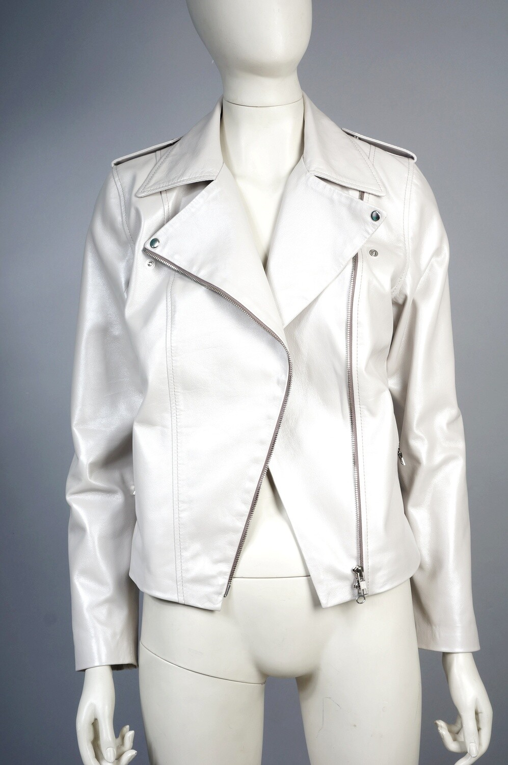 White leather pearl jacket