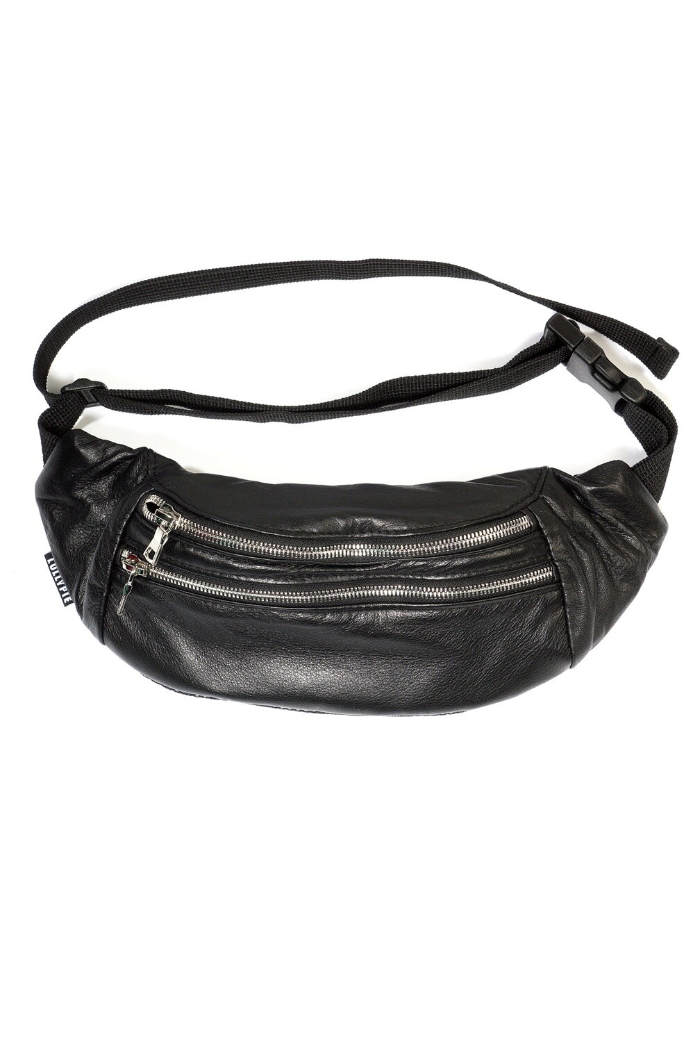 Leather Belt Bag with Two Zippers