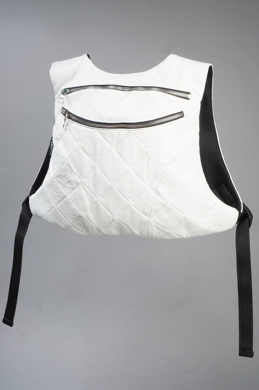 Рюкзак кожаный белый маленький