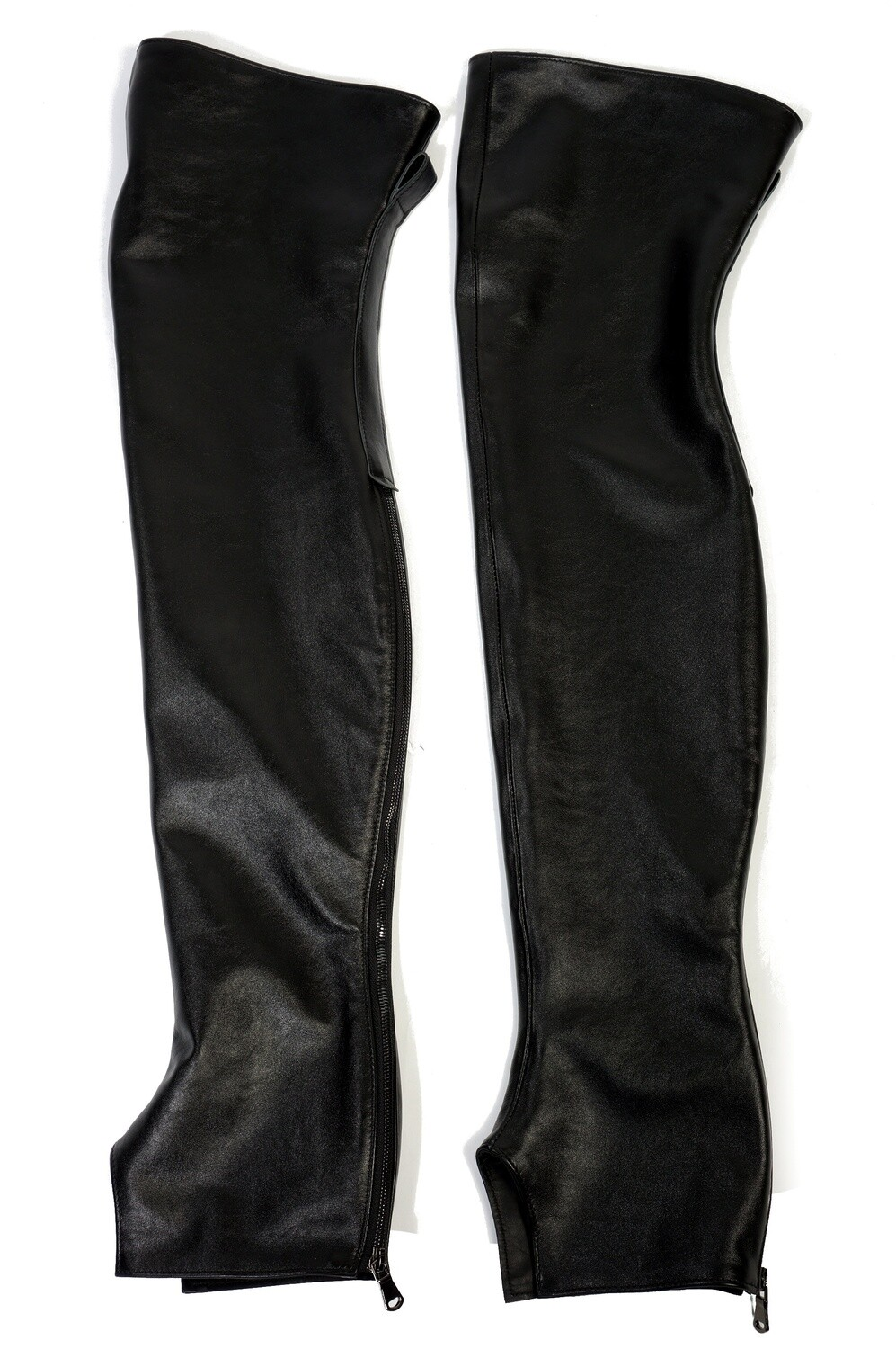 Women's leather high gaiters to the middle of the thigh