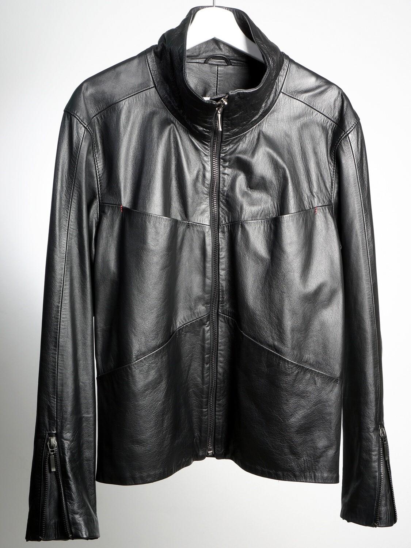 Black Leather Man Jacket Fout Pockets