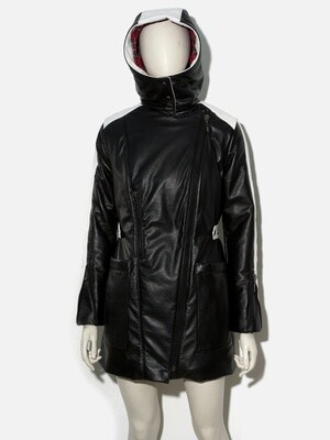 Long Jacket Genuine Leather with Hood