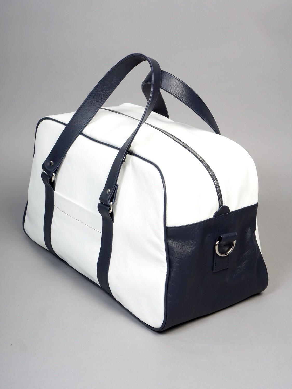Sports bag genuine white leather