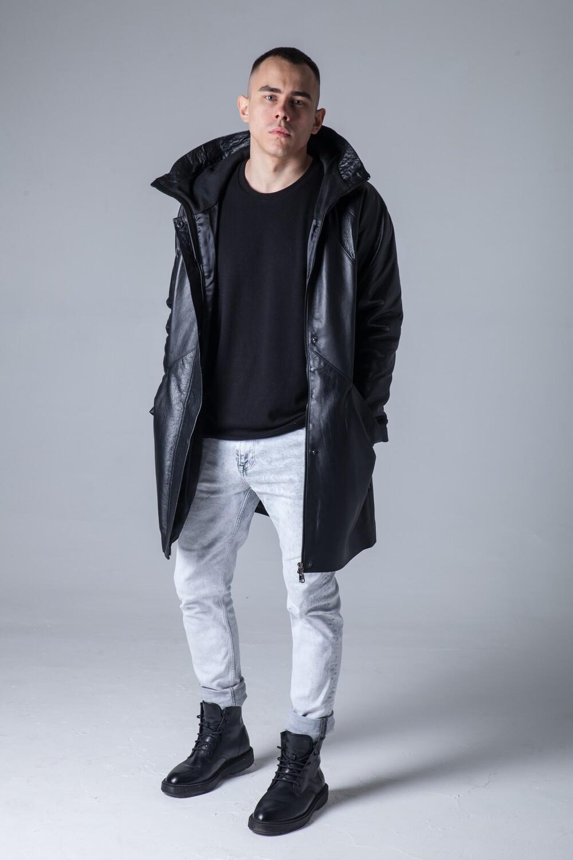 Куртка аляска из натуральной кожи мужская до колен.