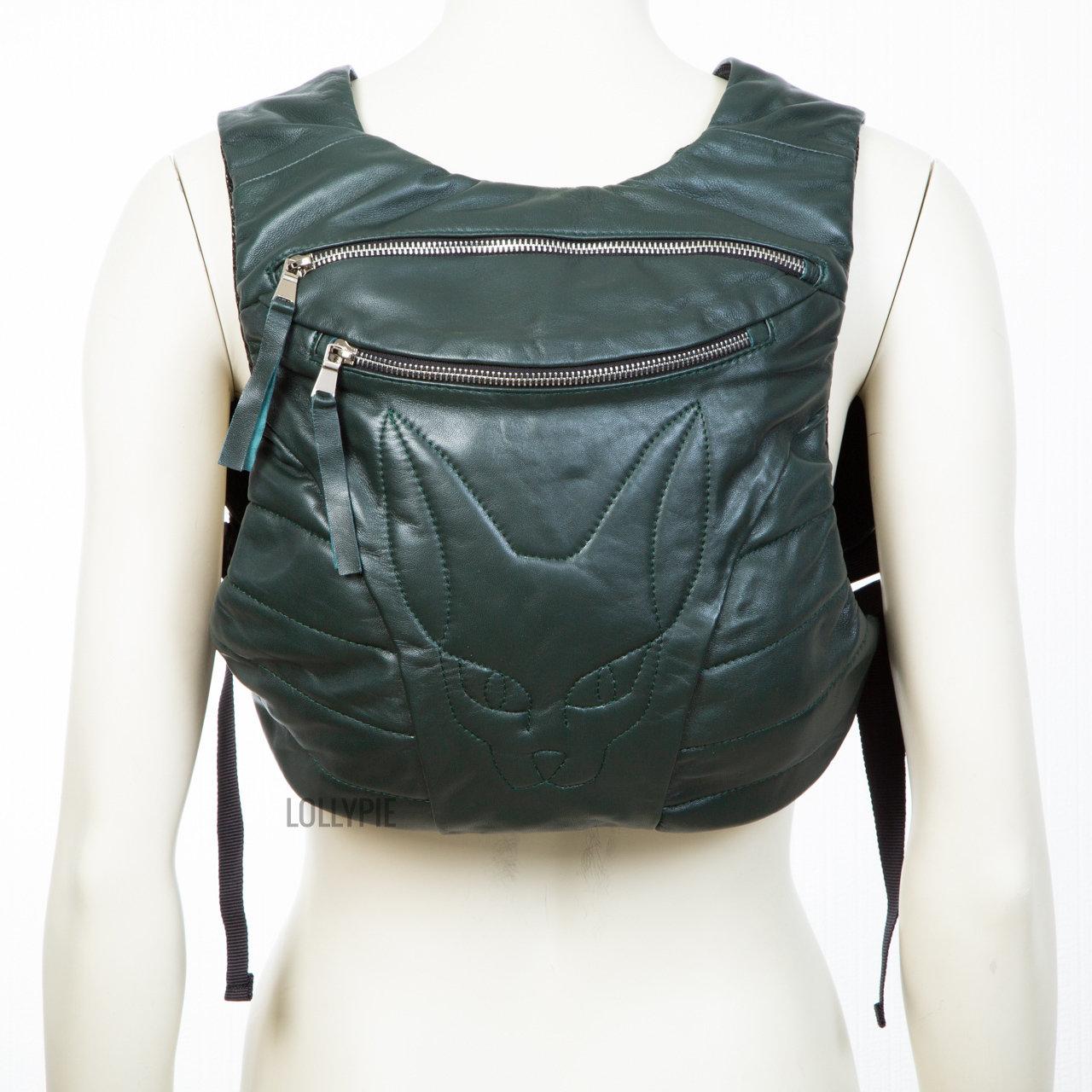 Рюкзак кожаный зеленый глянец