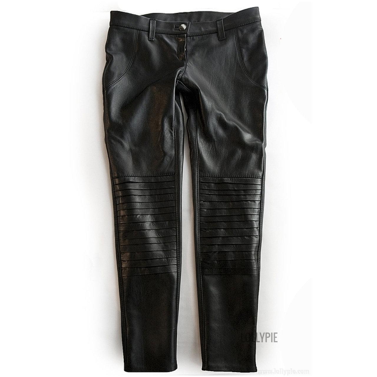 Кожаные джинсы женские