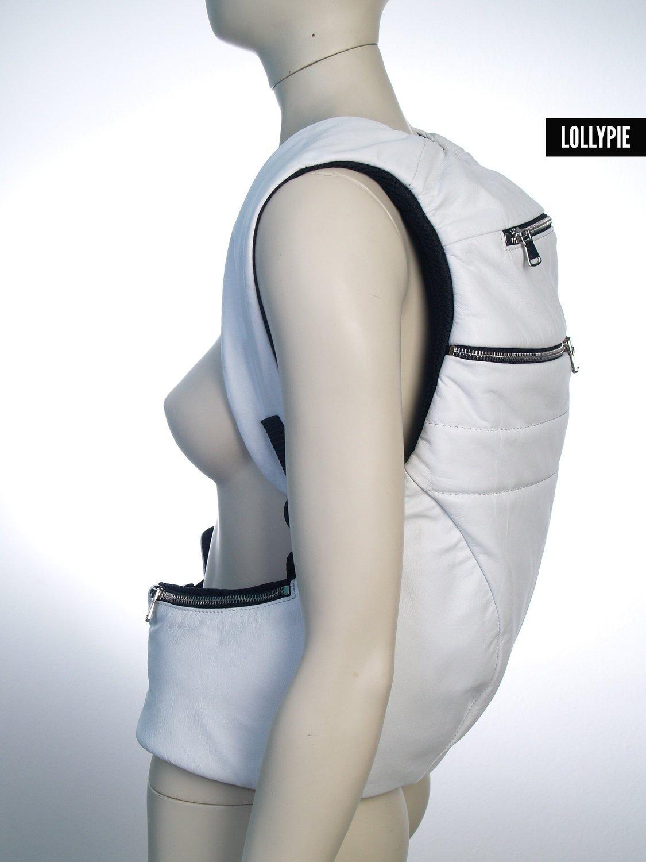 Рюкзак кожаный белый