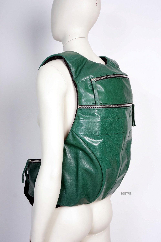 Рюкзак кожаный зеленый