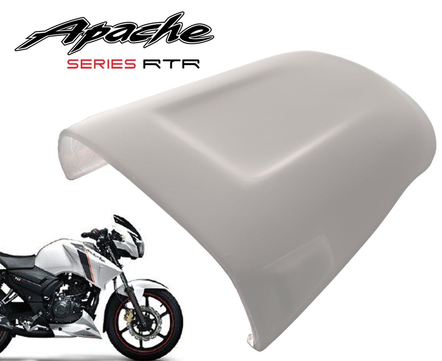 Dragster Pillion Seat Cowl for TVS Apache 160/180 - Plug N Play - Pearl White